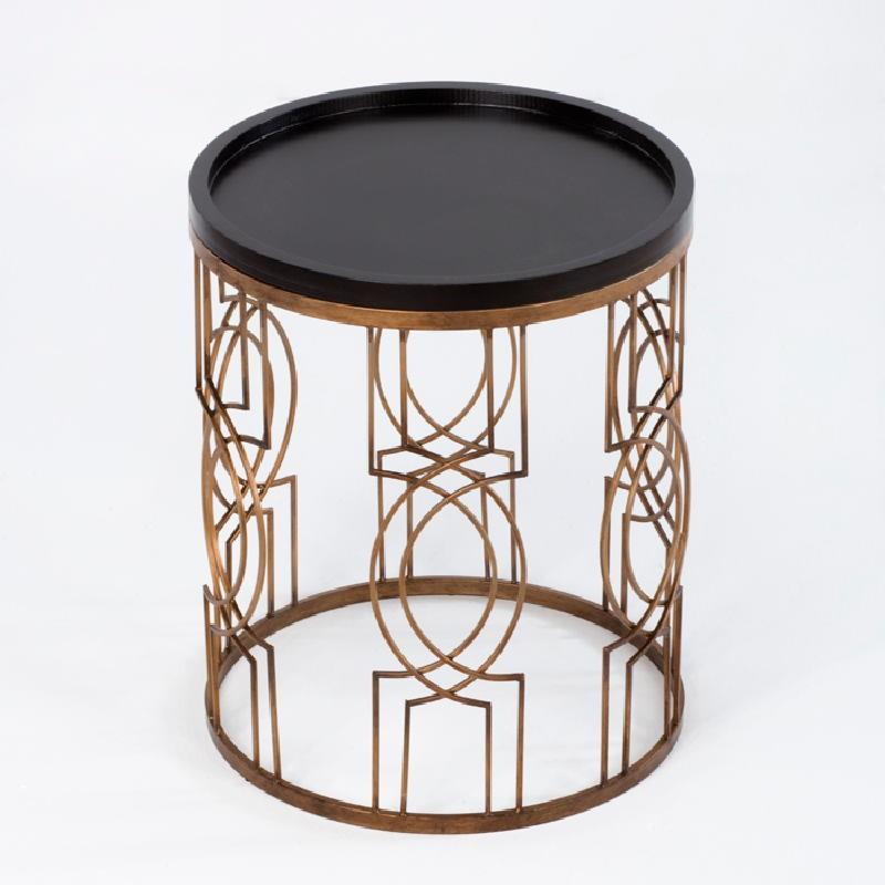 Table d'appoint, bout de canapé 51x51x62 Métal Doré Bois Noir