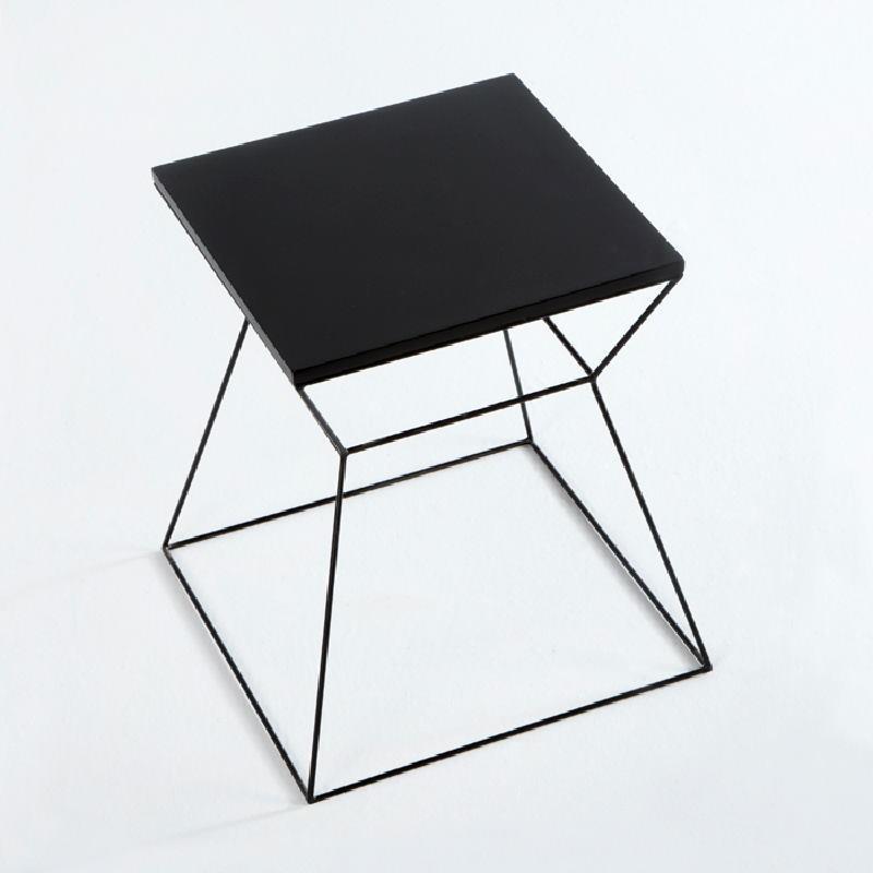 Table d'appoint, bout de canapé 43x43x45 Métal MDF Noir - image 53717