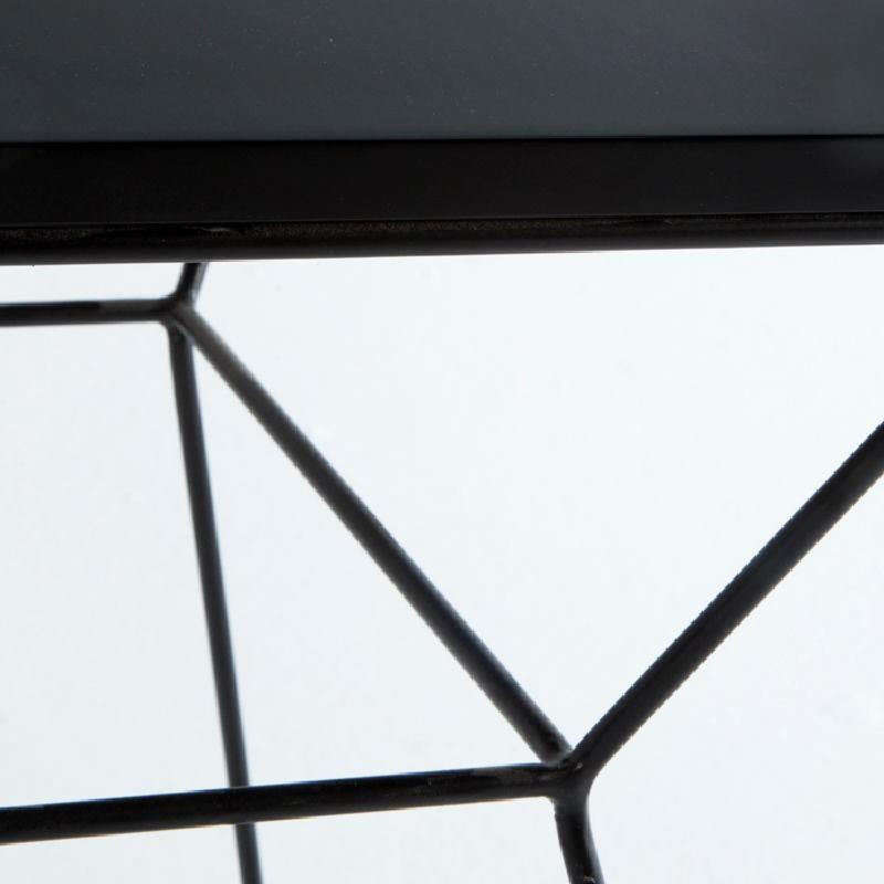 Table d'appoint, bout de canapé 43x43x45 Métal MDF Noir - image 53718