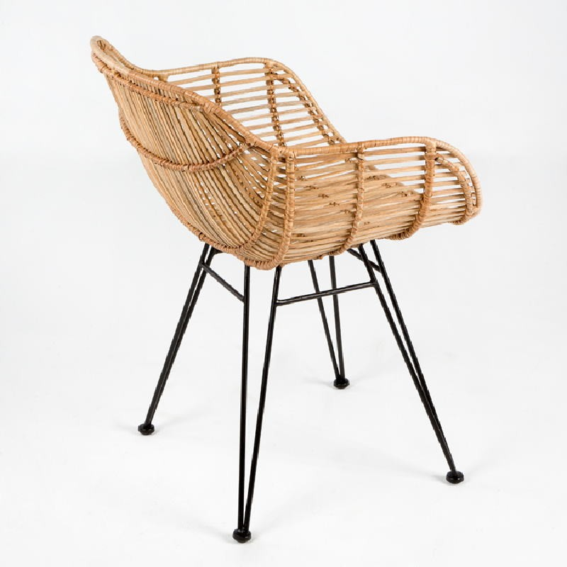 Chair 55X53X73 Metal Wicker Natural - image 53722