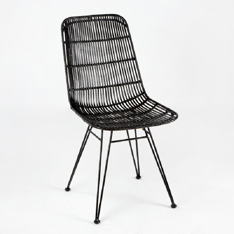 Chaise 57x45x88 Métal Osier Noir - image 53726