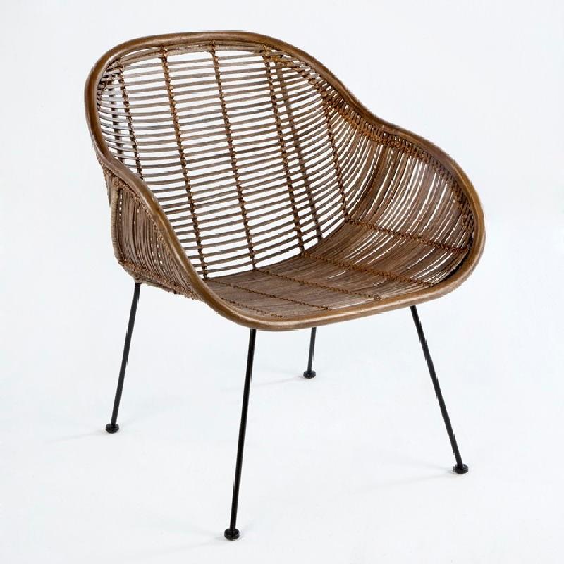 Chair 53X71X81 Metal Wicker Brown
