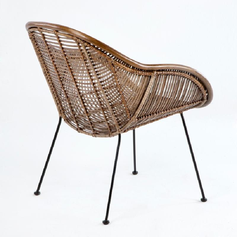 Chair 53X71X81 Metal Wicker Brown - image 53735