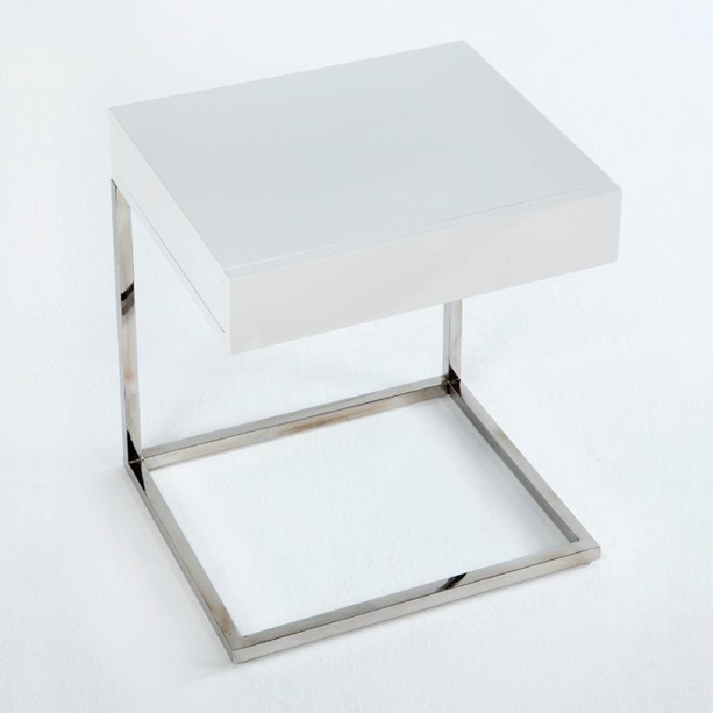 Table de chevet 50x40x54 Acier MDF Blanc - image 53737