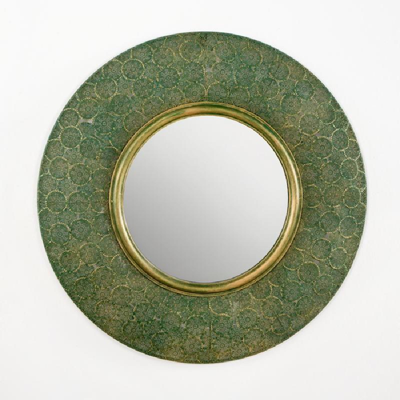 Miroir 86x5x86 Métal Or Vert