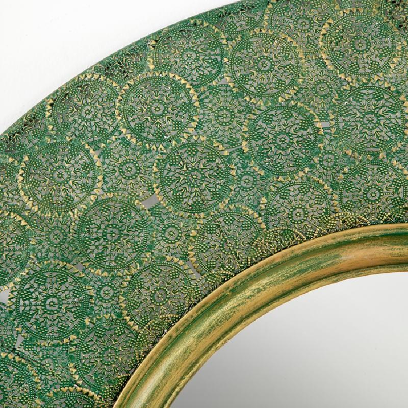 Miroir 86x5x86 Métal Or Vert - image 53745