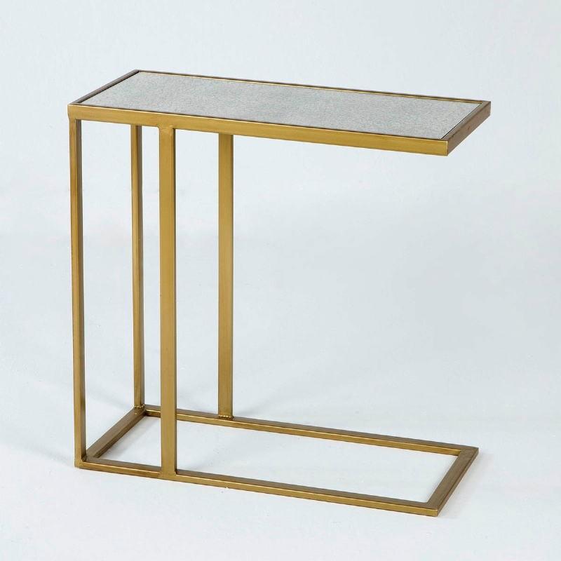 Table d'appoint, bout de canapé 62x28x61 Métal Or Miroir Vieilli