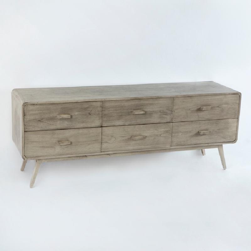 Sideboard 200X50X75 Gebleichtes Graues Holz - image 53783
