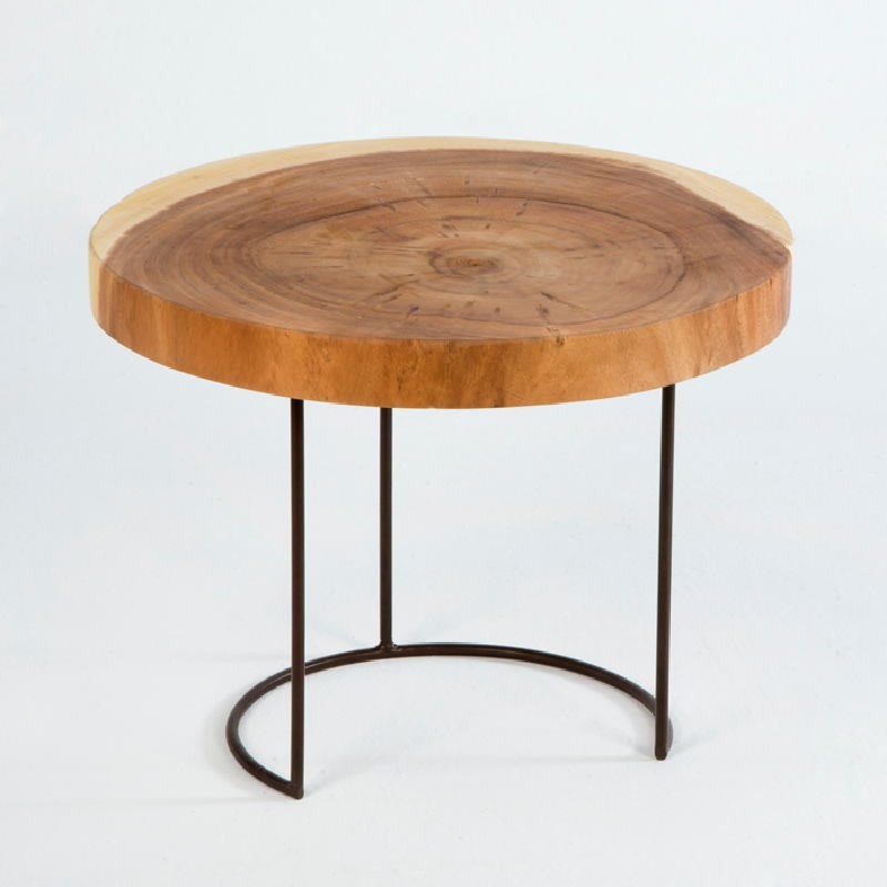 Table d'appoint, bout de canapé 50x50x38 aprox. Métal Bois Naturel - image 53800
