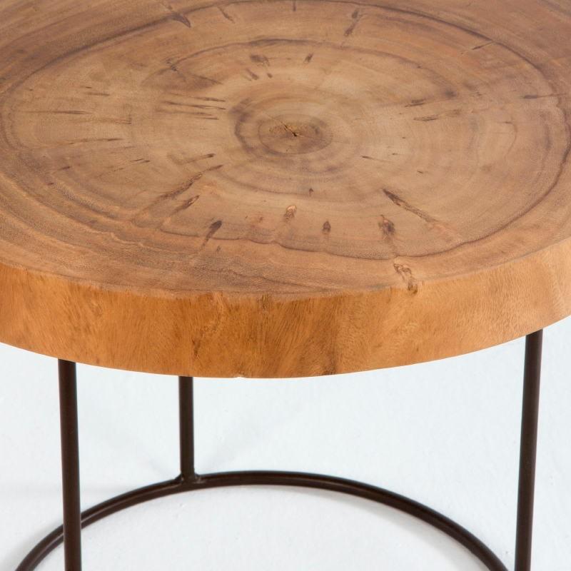 Table d'appoint, bout de canapé 50x50x38 aprox. Métal Bois Naturel - image 53801