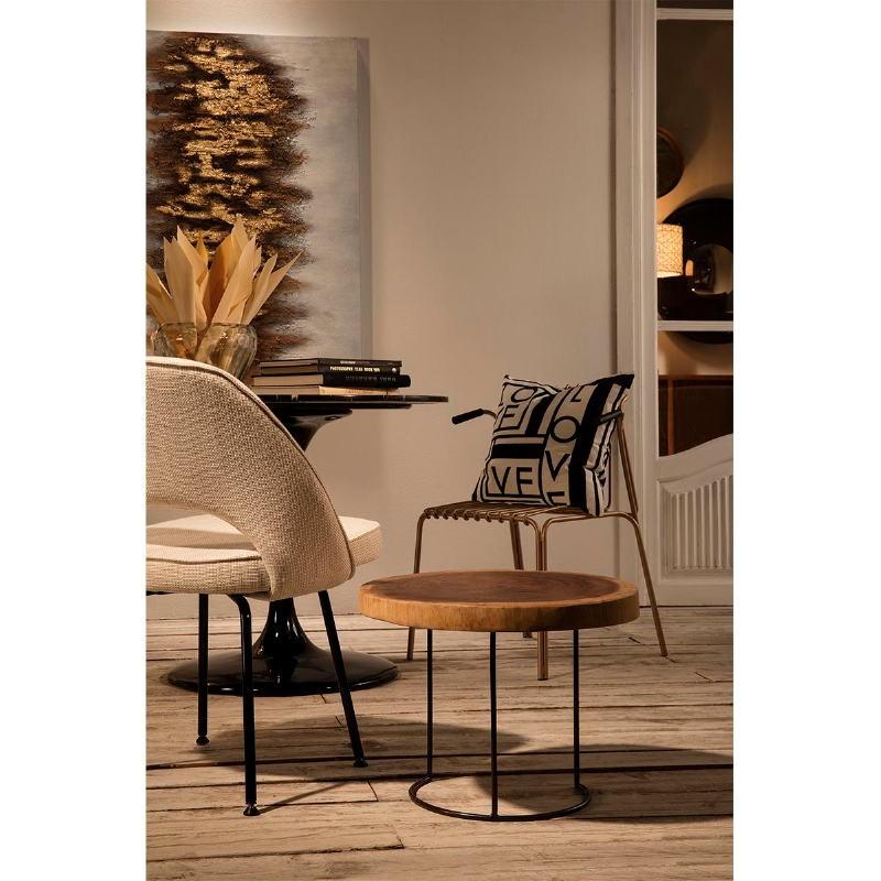 Table d'appoint, bout de canapé 50x50x38 aprox. Métal Bois Naturel - image 53802