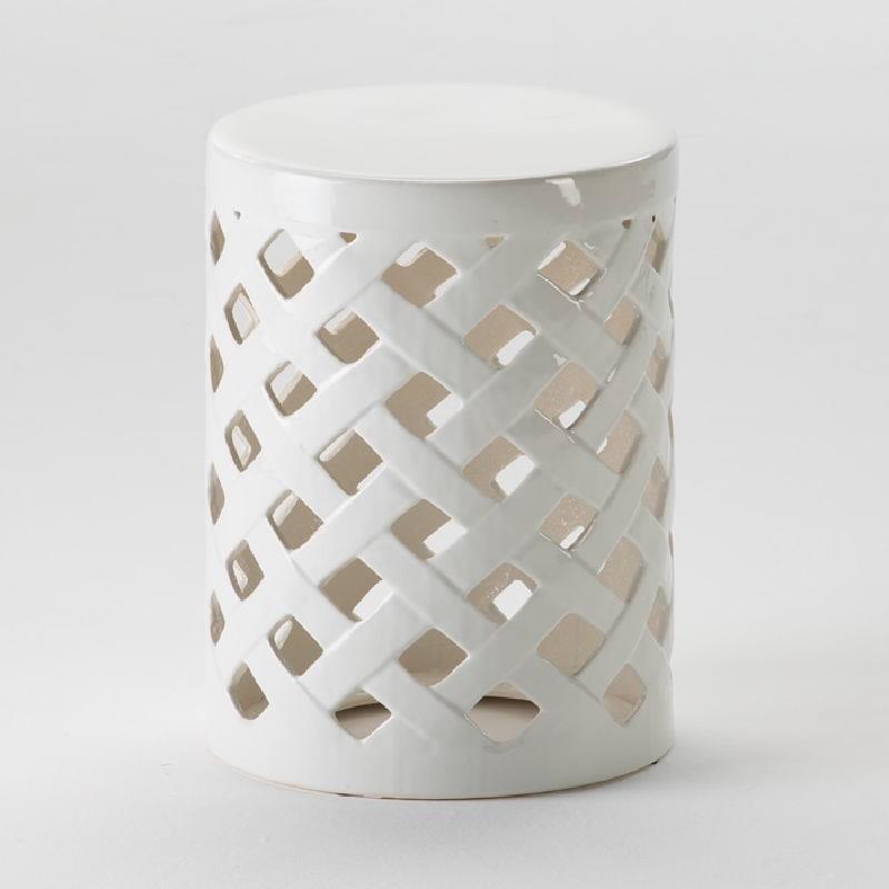 Tabouret bas 34x47 Céramique Blanc