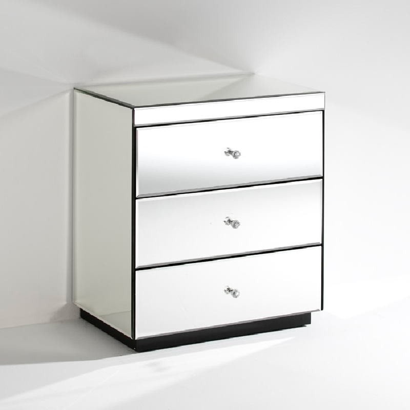 Bedside Table 3 Drawers 60X40X70 Mirror