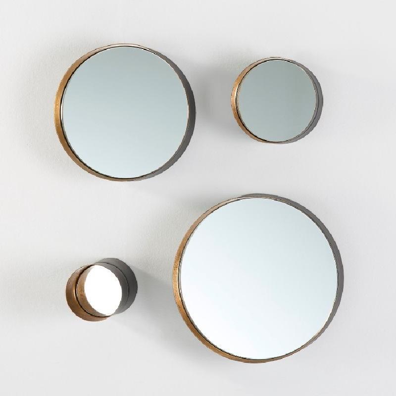 Set 4 Spiegel 30X8 25X8 15X8 10X15 Metall Schwarz Gold