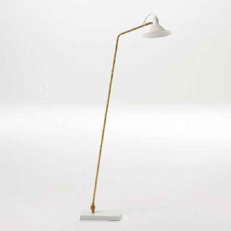 Lampada A Stelo Con Paralume 26X19X136 Metallo Bianco Bronzo
