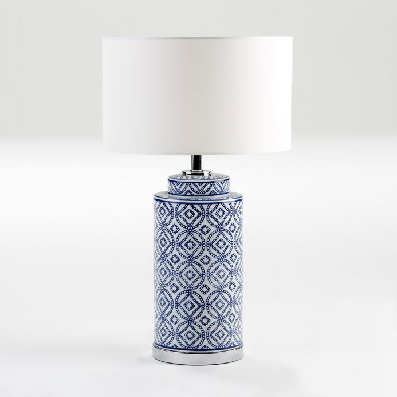 Lampada Da Tavolo Senza Paralume 20X51 Ceramica Bianco Blu