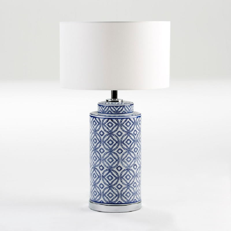 Table Lamp Without Lampshade 20X51 Ceramic White Blue