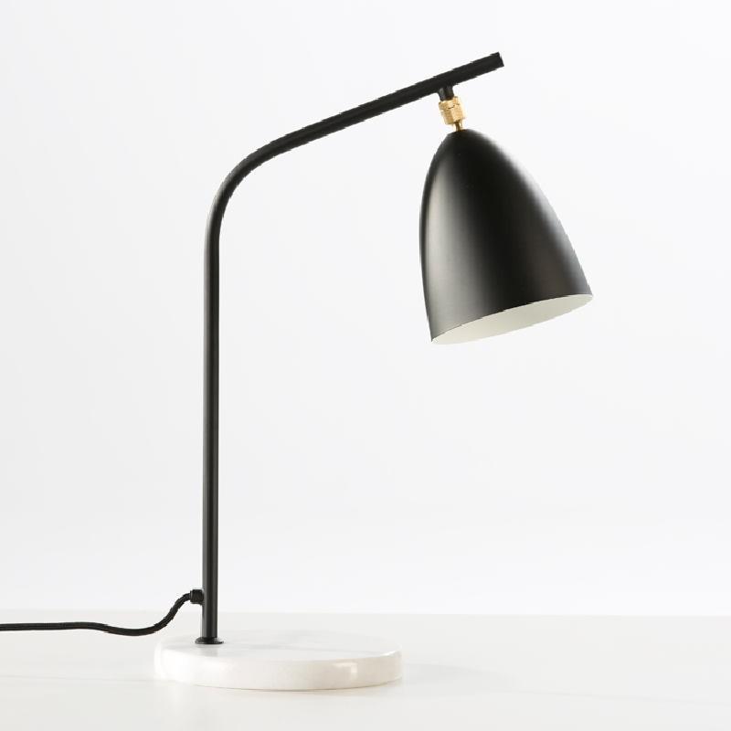 Lampada Da Tavolo Con Paralume 37X22X54 Marmo Metallo Nero