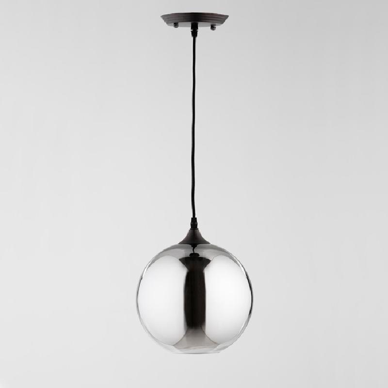 Lampe suspendue avec abat-jour 24x28 Verre Gris avec ampoule - image 53862