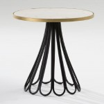 Auxiliary Table 60X58 Metal Black Gold Marble White