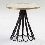 Table d'appoint, bout de canapé 60x58 Métal Noir Or Marbre Blanc