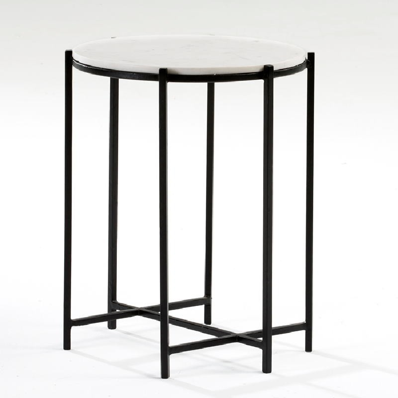 Auxiliary Table 43X53 Metal Black Marble White