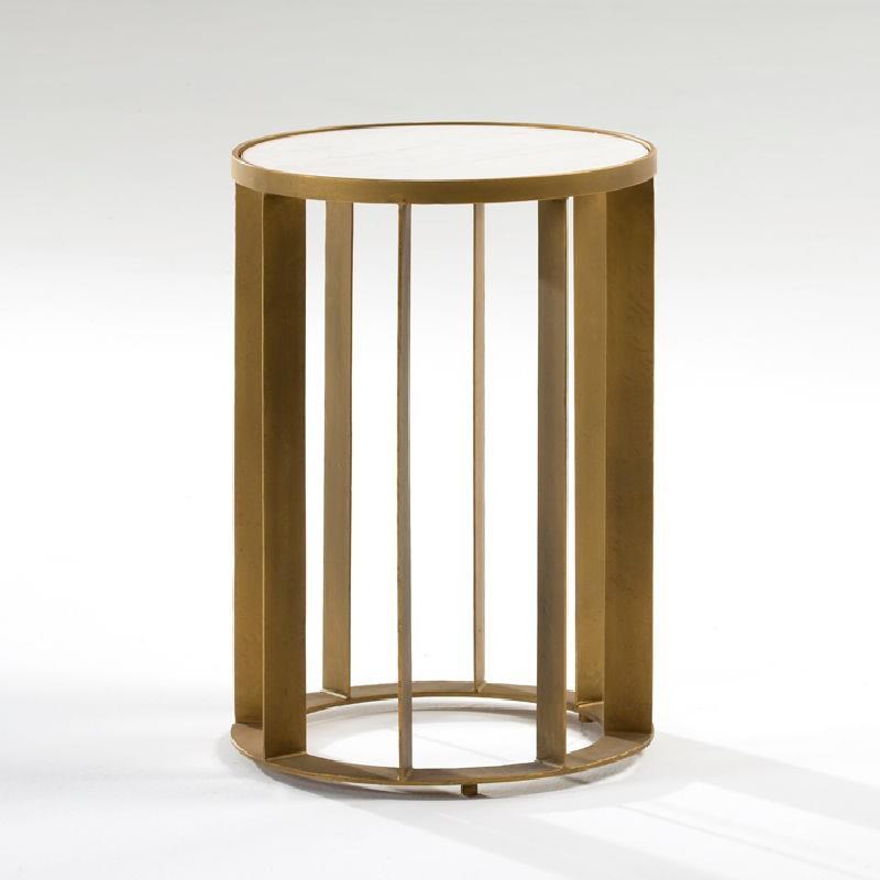 Hilfstisch 42X42X61 Metall/Marmor Golden/Weiß