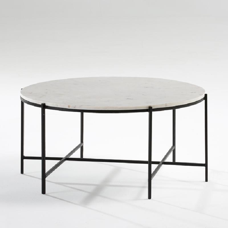 Tavolo Di Caffé 86X41 Metallo Nero Marmo Bianco