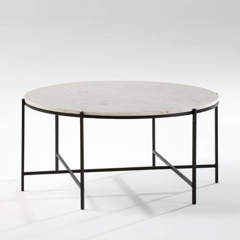 Coffee Table 86X41 Metal Black Marble White - image 53885