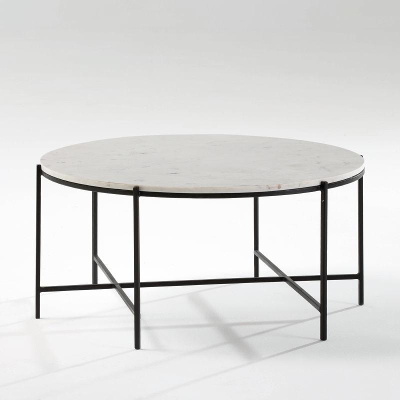 Table basse 86x41 Métal Noir Marbre Blanc - image 53885