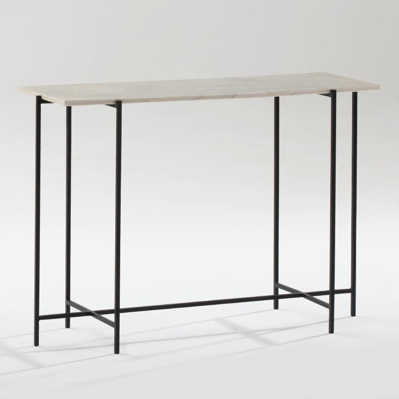 Console 109X38X76 Metal Black Marble White - image 53887