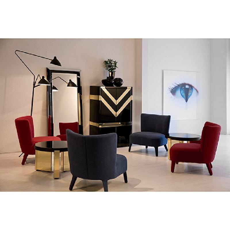 Mueble Bar 88X45X140 Cristal Negro Espejo Dorado - image 53892