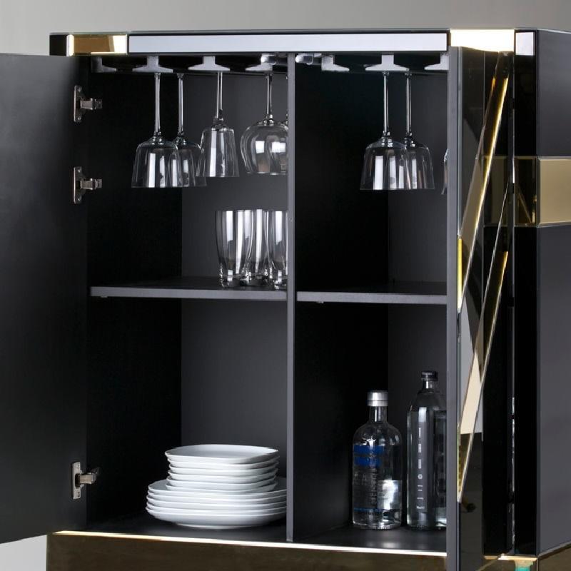 Mueble Bar 88X45X140 Cristal Negro Espejo Dorado - image 53893