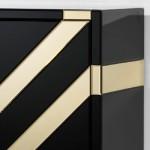 Mueble Bar 88X45X140 Cristal Negro Espejo Dorado