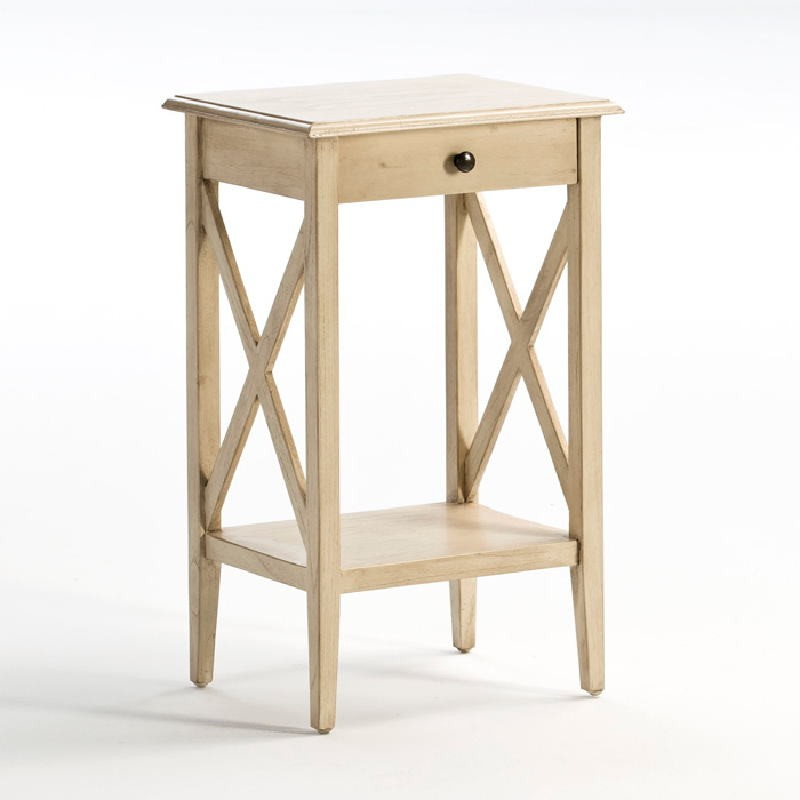 Bedside Table 42X35X70 Wood White Veiled