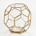 Candle Holder 25X22X23 Glass Metal Golden