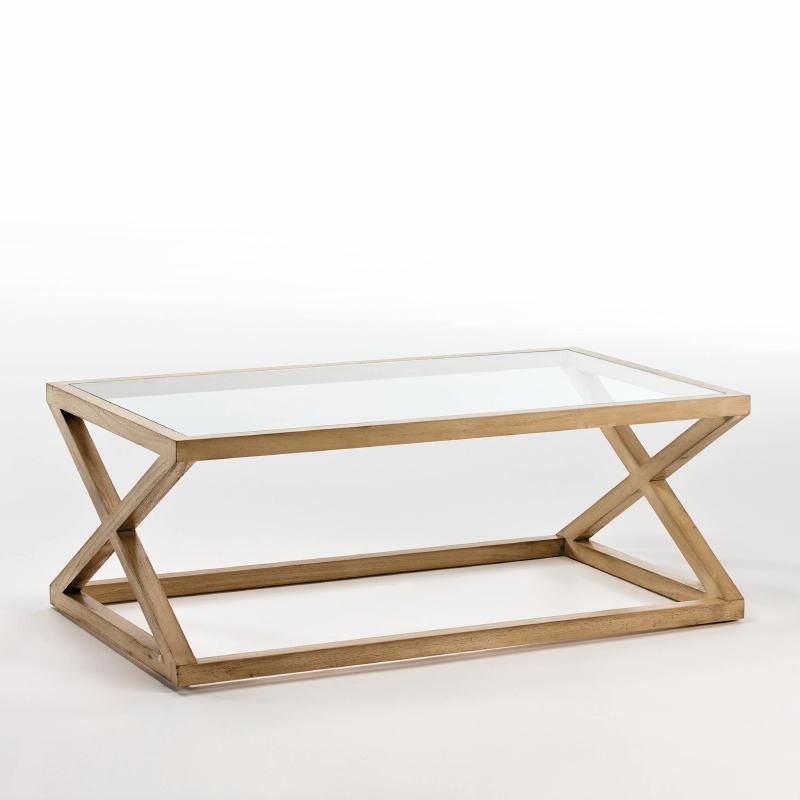 Table basse 120x70x45 Verre Bois Naturel Blanchi - image 53911