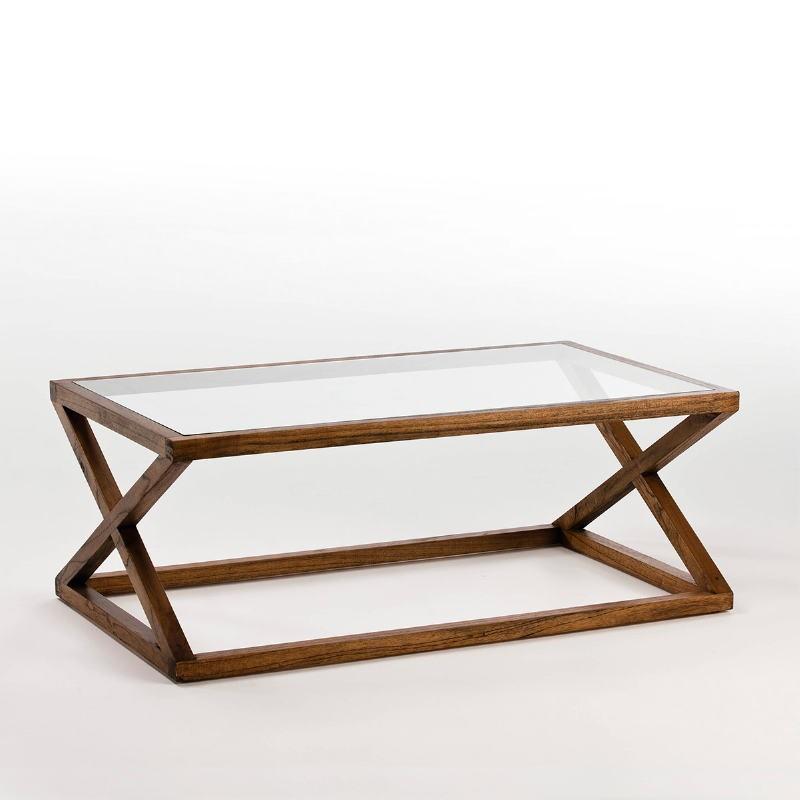 Table basse 120x70x45 Verre Bois Marron