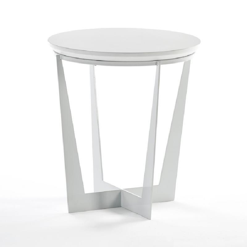 Tavolo Ausiliare 50X50X55 Metallo Mdf Bianco