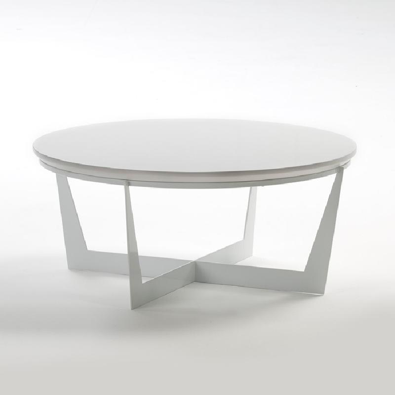 Coffee Table 90X90X38 Metal Mdf White