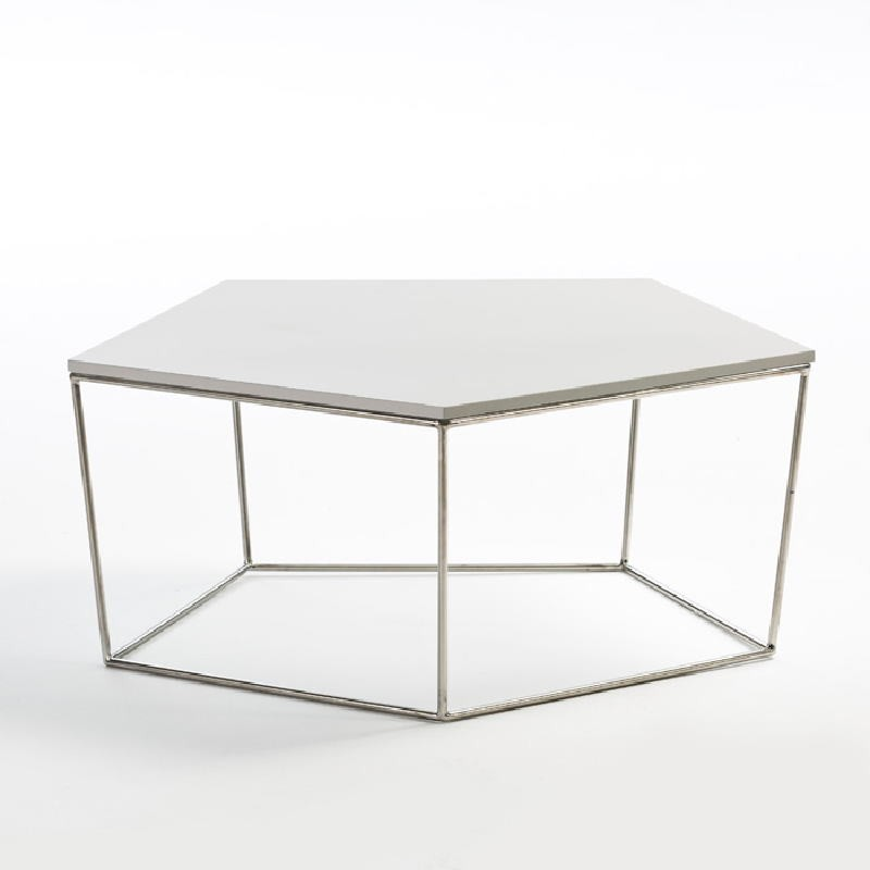 Tavolo Di Caffé 95X90X38 Acciaio Mdf Bianco