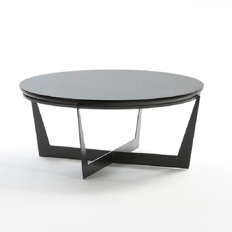 Table basse 90x90x38 Métal MDF Noir