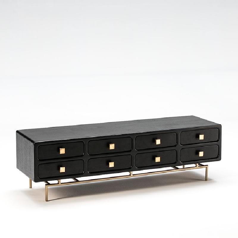 Mobile Tv 160X45X50 Metallo Oro Legno Nero