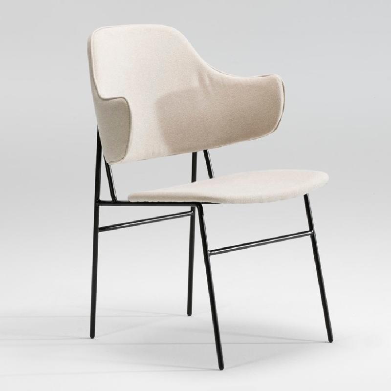 Chair 52X58X78 Metal Black Fabric Beige