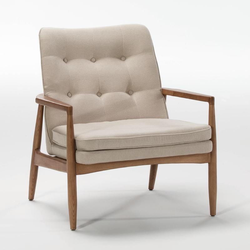 Armchair 82X73X83 Wood Brown Fabric Beige - image 53951