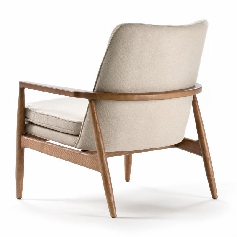 Armchair 82X73X83 Wood Brown Fabric Beige - image 53952