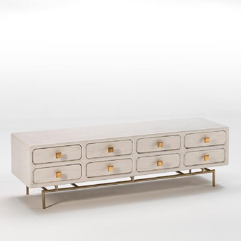Tv Furniture 160X45X50 Metal Gold Wood White - image 53957