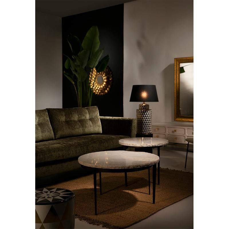 Mueble Tv 160X45X50 Metal Oro Madera Blanco 8 Cajones - image 53958