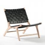 Sessel 64X80X70 Holz/Haut Schwarz/Weißwäsche
