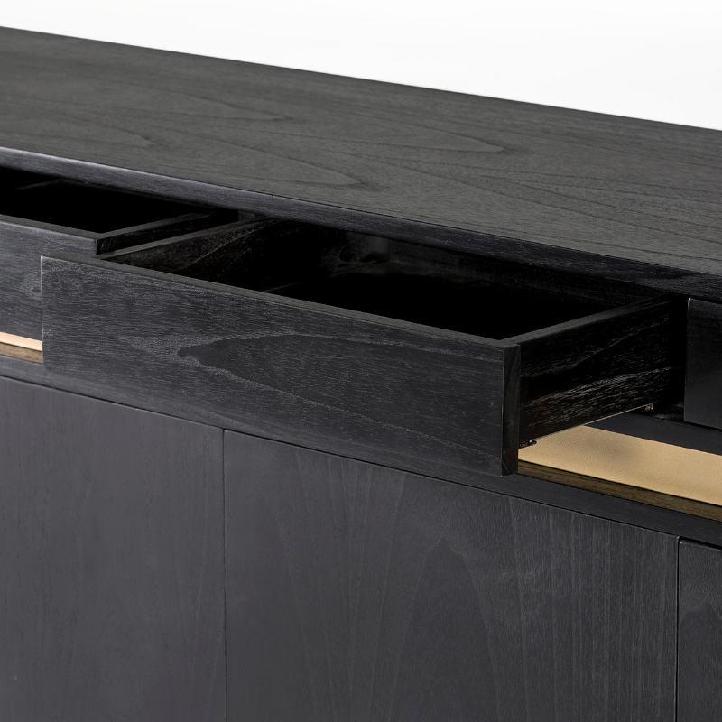 Sideboard 4 Doors 4 Drawers 180X45X75 Wood Black Metal Gold - image 53984